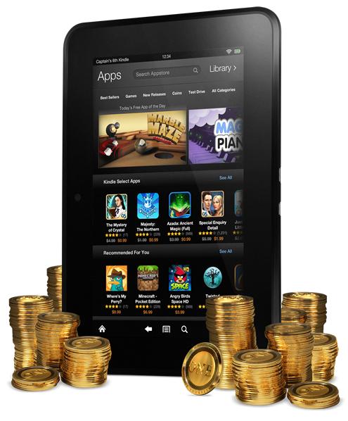 Amazon oferece Amazon Coins, seu sistema de dinheiro virtual