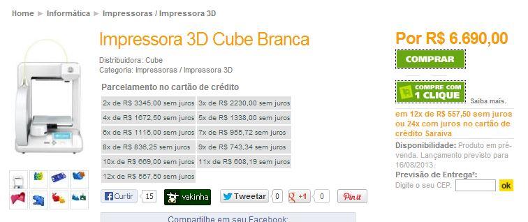 impressora cube branca rs 7000,00