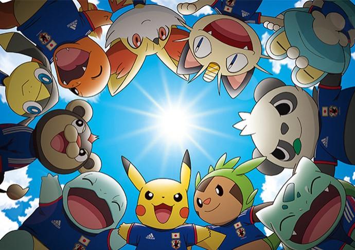 Pikachu e colegas com camisa seleção do Japão - Divulgação