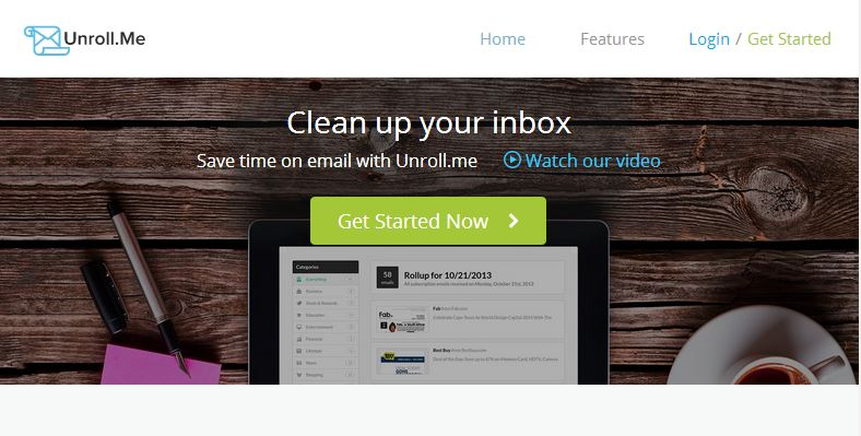 Unroll.Me Homepage