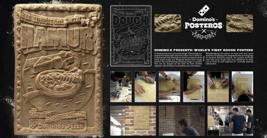 Domino's inova e inventa cartazes com massa de pizza