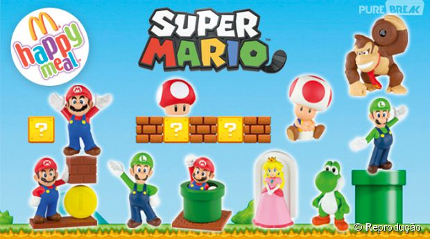 Os próximos brindes do Mc Lanche Feliz serão personagens do Super Mario Bros. PQPPPP!