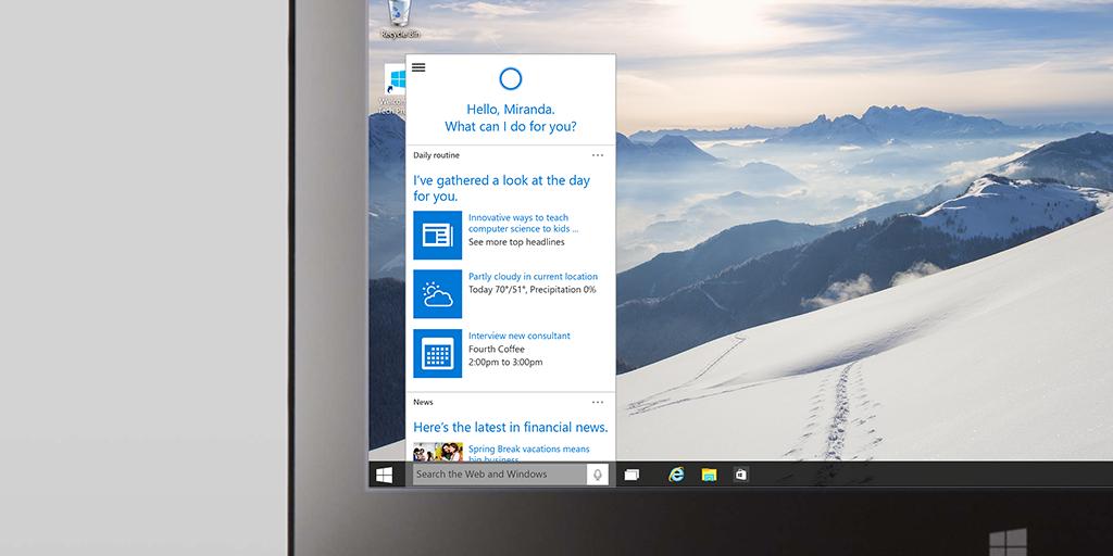 Um dos destaques do novo sistema é o assistente de voz Cortana. - Reprodução