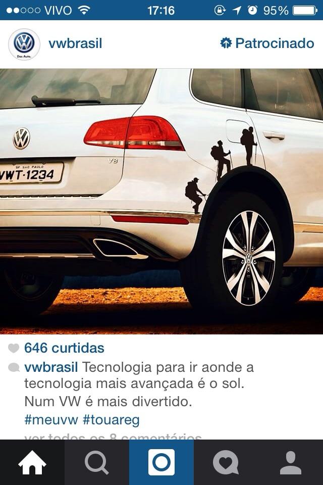 Anúncio da Volkswagen no feed de notícias do Instagram. Imagem: Michel de Almeida.
