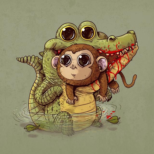 Crocodilo e macaco