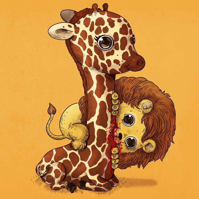 Leão e girafa