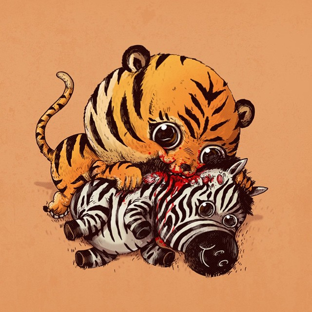Tigre e zebra