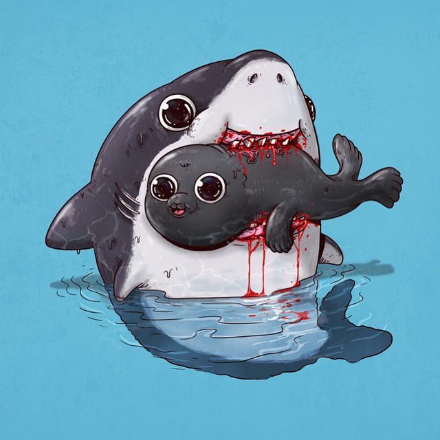 Tubarão e foca
