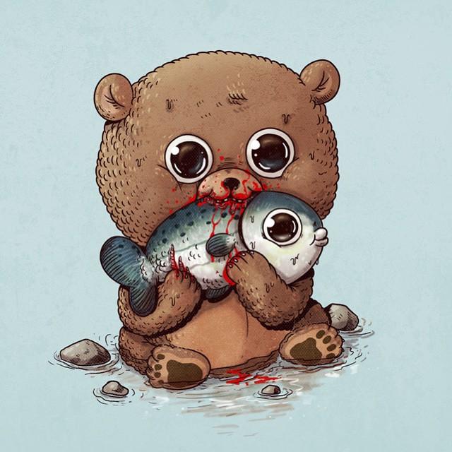 Urso e peixe Salmão