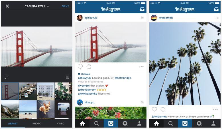 Instagram deixa de exigir corte de imagens e vídeos em formato quadrado