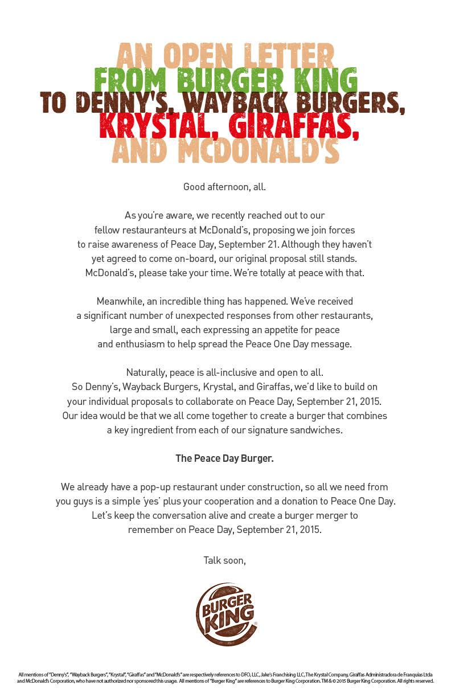 Trecho da carta diz: Denny's, Wayback Burgers, Krystal, e Giraffas, nós gostaríamos de construir sobre suas propostas individuais para colaborar no Dia da Paz, 21 de setembro de 2015. A nossa idéia seria que todos nós viemos juntos para criar um hambúrguer que combina um ingrediente-chave de cada um dos nossos sanduíches exclusivos.
