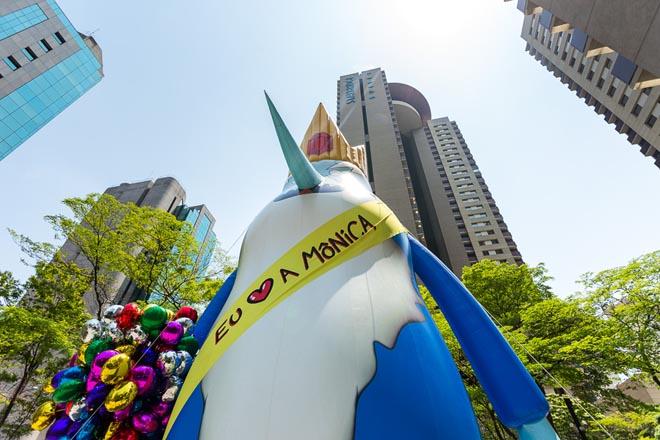 SAO PAULO, SP, BRASIL, 2015-10-17: Rei Gelado do Cartoon Network em acao de marketing no Brascan Open Mall em comemoracao dos 80 anos do Mauricio de Sousa. (Foto: Henrique Manreza)