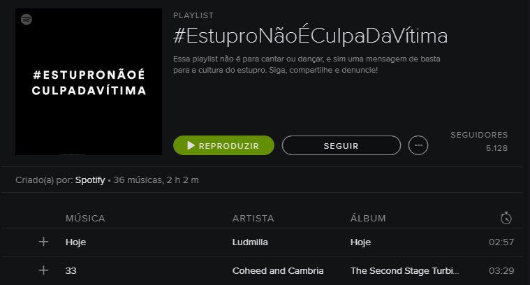 Spotify manda mensagem por meio de playlist #EstuproNãoÉCulpadaVitima