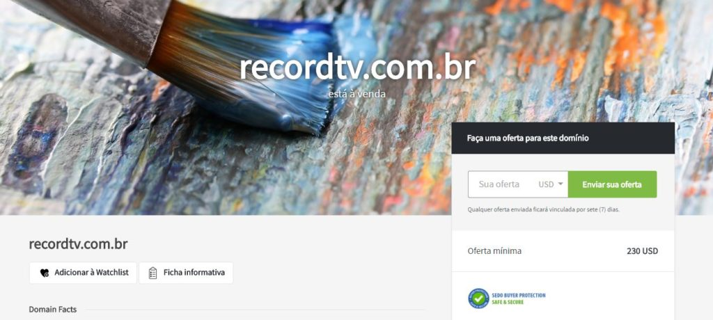 No site de compra e venda de domínios Sedo.com ainda é possível dar um lance pelo domínio recordtv.com.br.