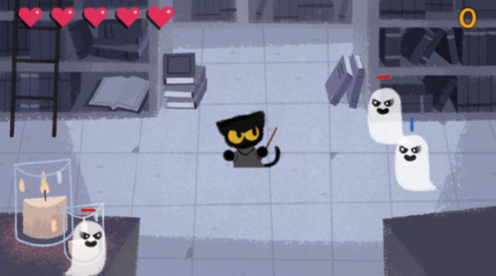 Ajude o gatinho mágico neste doodle de Halloween do Google