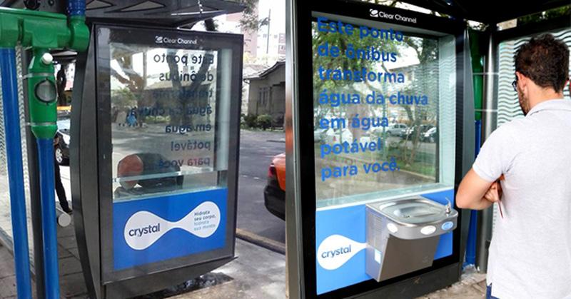 Anúncio da Crystal transforma água da chuva em água potável