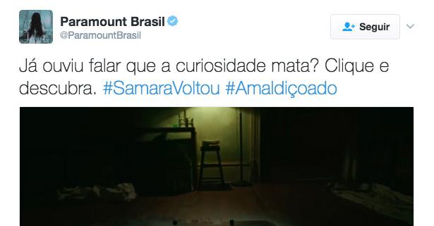 Paramount usa interatividade do Twitter para promover estreia de O Chamado 3