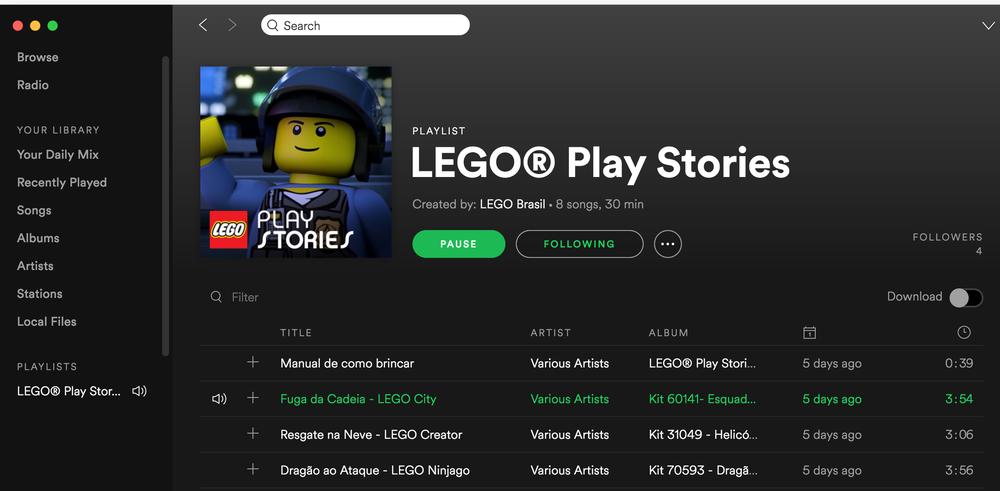 Hoje mais do que nunca os brinquedos tem que competir com telas digitais pela atenção das crianças. Sabendo disso, a Lego lança playlist no Spotify.