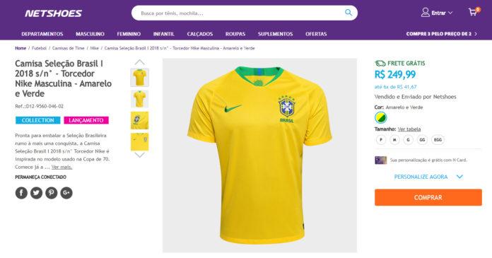 74c3859f3f0b7 Vendas de camisetas do Brasil disparam e crescem 3000% na Netshoes ...
