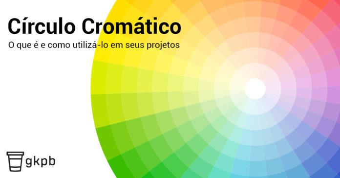 Imagem de um Cícrulo Cromático com os dizeres: o que é e como utilizá-lo em seus projetos.