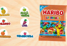 Imagem do pack de Haribo ao lado dos sabores: abacaxi, maçã verde, morango, uva, tangerina e framboesa.