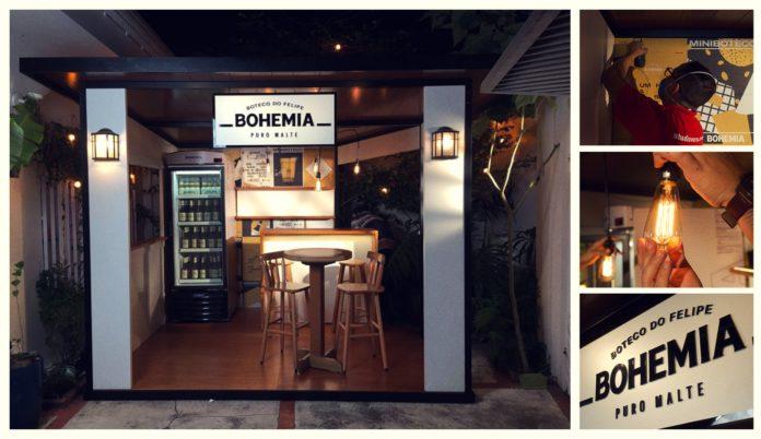 Foto mostra barzinho com a identidade visual da Bohemia montado no quintal do consumidor.