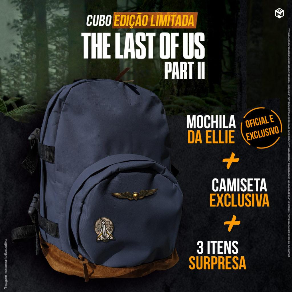 Foto promocional do box de The Last of Us Part II apresentando a mochila da personagem Ellie. Um dos itens da caixa.