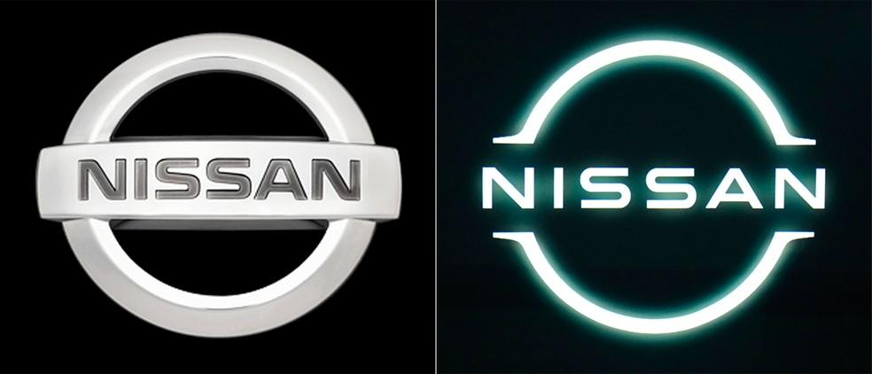 """Comparação logos Nissan, na esquerda a versão antiga (3D) e na direita a nova versão """"clean"""" e iluminada."""