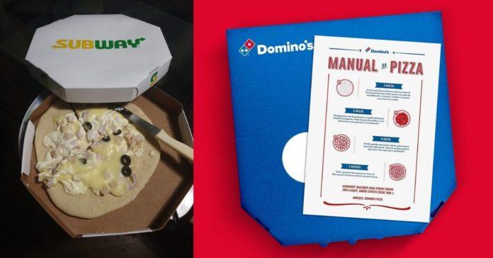 Imagem mostra foto da pizza do subway mal montada e de caixa de pizza da Domino's com um manual de como preparar pizzas da Domino's