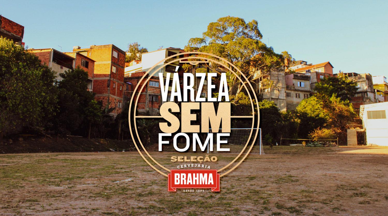 Imagem de um campo de futebol com logo do projeto Várzea Sem Fome.
