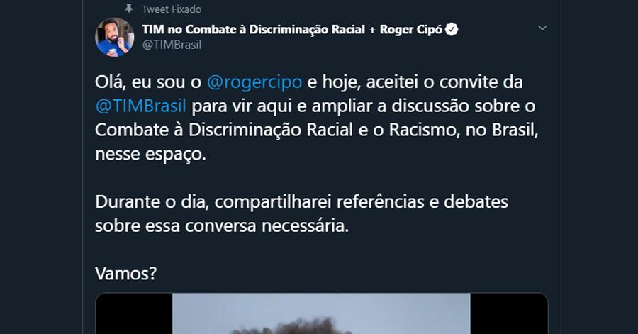 Print do tweet realizado por Roger Cipó no perfil da Tim Brasil