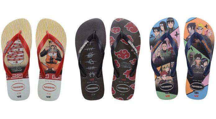 Imagem mostra três pares de chinelos Havaianas com diferentes estampas inspiradas em Naruto.