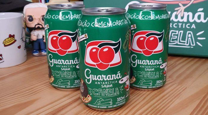 três latas de Guaraná Antarctica sabor canela com embalagens desenhadas pelo Matheus Canella.
