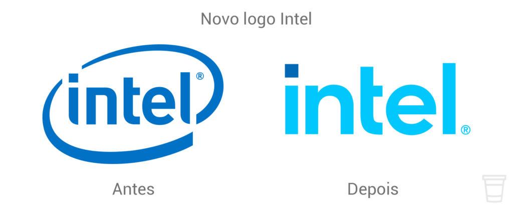 Novo logo Intel 2020 antes e depois.