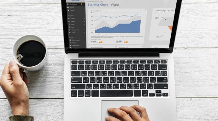 Computador com gráficos de desempenho das redes sociais e xícara de café ao lado