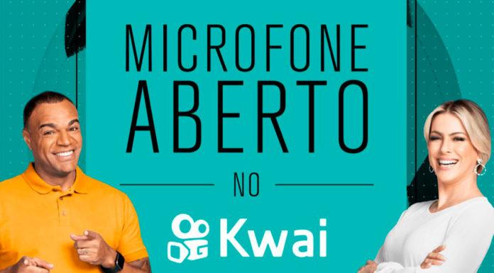 Banner do Microfone Aberto, reality show da Band para eleger um novo comentarista de futebol.