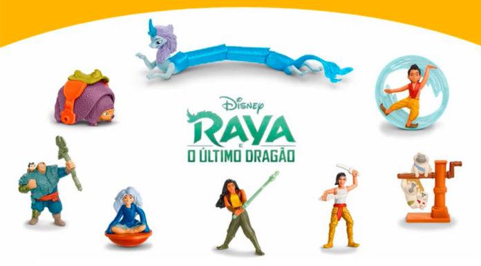 Novos brindes do McLanche Feliz temático do filme Raya e o Último Dragão.