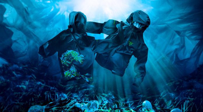 Banner da nova linha de roupas da Razer, que são feitas a partir de plástico.