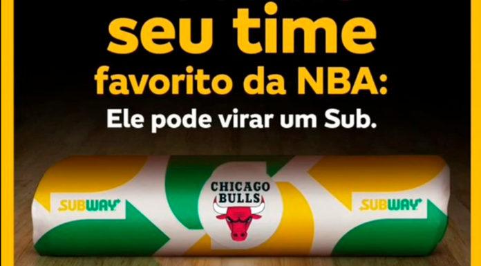 Banner para escolher os nomes dos lanches da Subway em parceria com a NBA.