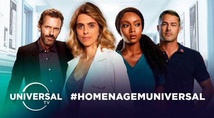 Banner da Universal TV para a homenagem aos profissionais da saúde.