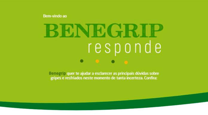 Site da campanha Benegrip Responde, em que a marca tira dúvidas sobre a gripe e COVID-19.