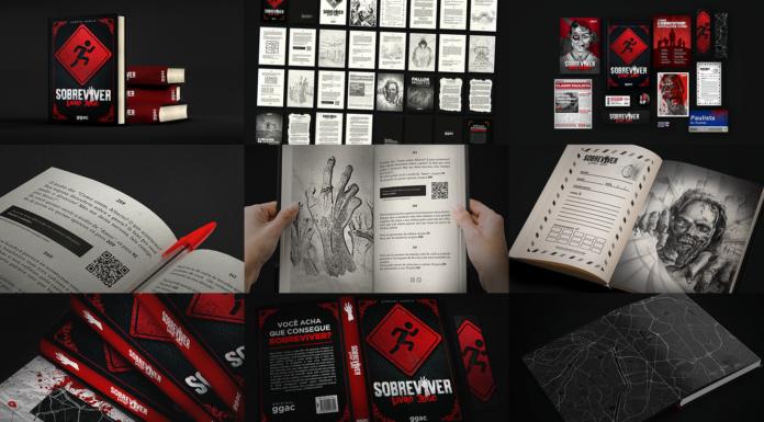 Páginas demonstrativas do livro-jogo Sobreviver