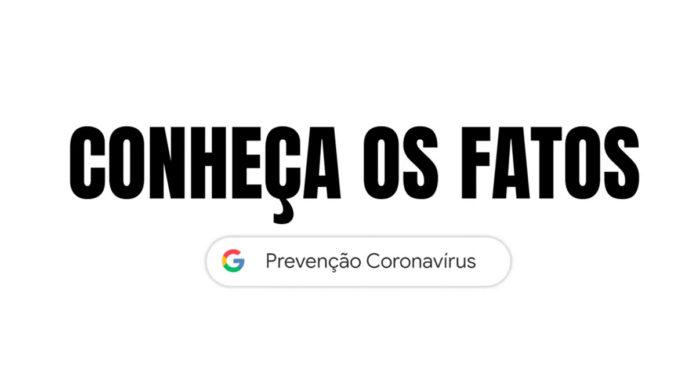 Campanha contra fake news sobre a COVID-19 do Google. Na foto, apenas um fundo branco com o nome da campanha