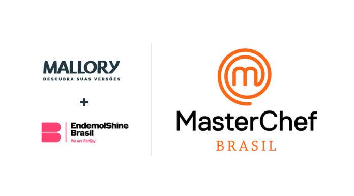 Foto de divulgação para a linha de eletroportáteis de MasterChef. Na foto A logo da Mallory, da Endemol Shine e de MasterChef Brasil.