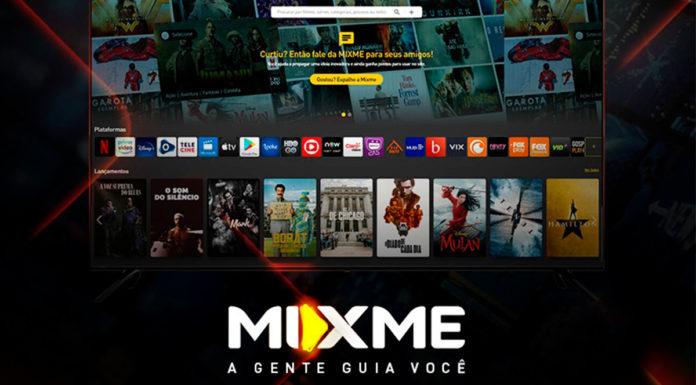 Banner do Mixme, um guia de filmes e séries. Ao fundo uma foto do site deles com uma frase e logo a frente: