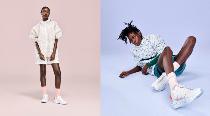 A foto apresenta dois modelos usando a linha sustentável da Nike.