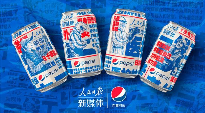 Banner das latas da Pepsi em homenagem a linha de frente contra o Coronavírus.