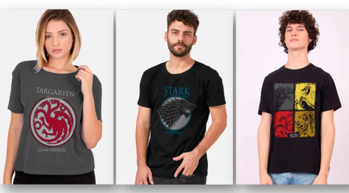 Camisetas que a Warner lançou em comemoração aos 10 anos de Game of Thrones.