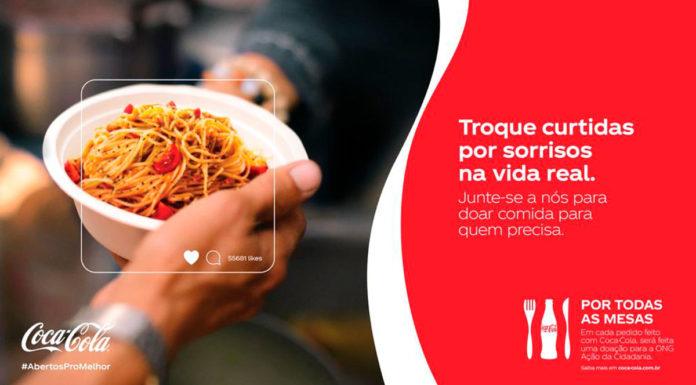 Foto de divulgação da campanha da Coca-Cola para ajudar a Ação da Cidadania.