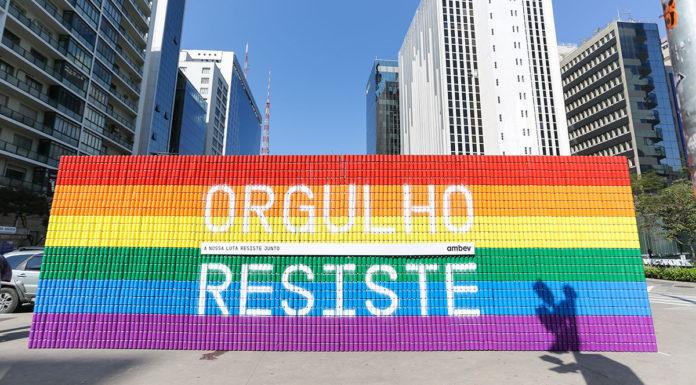 Muro do #OrgulhoResiste da Ambev.